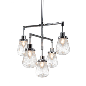 Meridian Chrome Five-Light Chandelier with Clear Bubble Glass