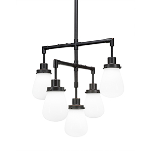 Meridian Dark Granite Five-Light Chandelier with White Glass