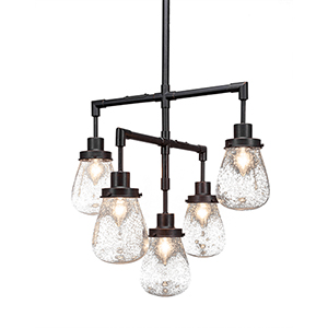 Meridian Dark Granite Seven-Light Chandelier with Clear Bubble Glass