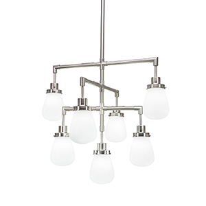 Meridian Brushed Nickel Seven-Light Chandelier with White Glass