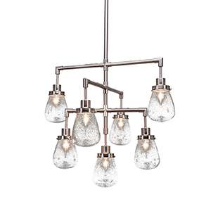 Meridian Brushed Nickel Seven-Light Chandelier with Clear Bubble Glass