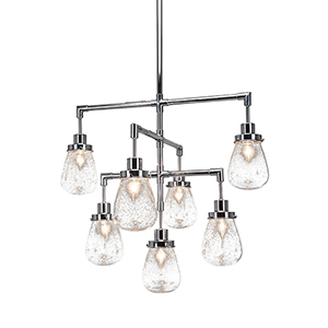 Meridian Chrome Seven-Light Chandelier with Clear Bubble Glass