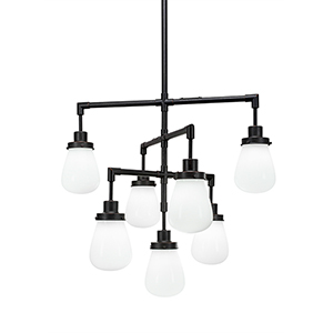 Meridian Dark Granite Seven-Light Chandelier with White Glass
