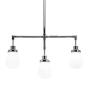 Meridian Chrome Three-Light Island Pendant with White Glass