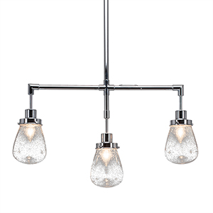 Meridian Chrome Three-Light Island Pendant with Clear Bubble Glass
