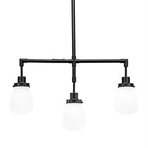 Meridian Dark Granite Three-Light Island Pendant with White Glass