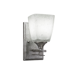 Uptowne Aged Silver One-Light Wall Sconce with Clear Bubble Glass