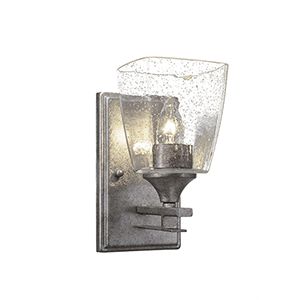 Uptowne Aged Silver One-Light Wall Sconce with White Muslin Glass