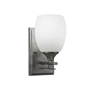 Uptowne Aged Silver One-Light Wall Sconce with White Linen Glass