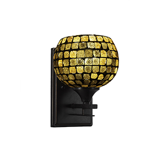 Uptowne Dark Granite One-Light Wall Sconce with Copper Mosaic Glass
