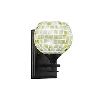 Uptowne Dark Granite One-Light Wall Sconce with Mystic Seashell Glass
