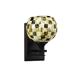 Uptowne Dark Granite One-Light Wall Sconce with Sea Mist Seashell Glass