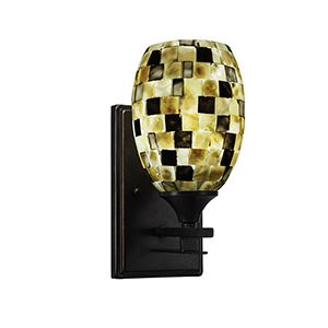 Uptowne Dark Granite One-Light Wall Sconce with Sea Haze Glass