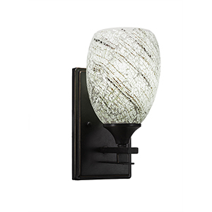 Uptowne Dark Granite One-Light Wall Sconce with Natural Fusion Glass
