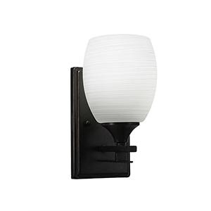 Uptowne Dark Granite One-Light Wall Sconce with White Linen Glass