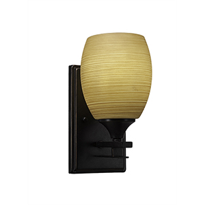 Uptowne Dark Granite One-Light Wall Sconce with Cayenne Linen Glass