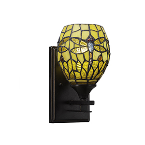 Uptowne Dark Granite One-Light Wall Sconce with Amber Dragonfly Mini Tiffany Glass