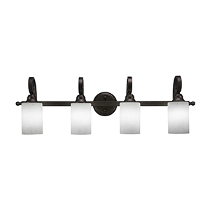 Curl Bronze Four-Light Bath Vanity with White Muslin Glass
