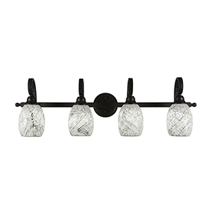 Curl Bronze Four-Light Bath Vanity with Natural Fusion Glass
