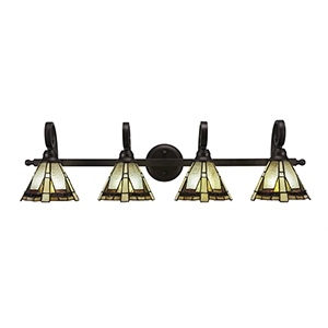 Curl Bronze Four-Light Bath Vanity with Zion Tiffany Glass