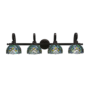 Curl Bronze Four-Light Bath Vanity with Turquoise Cypress Tiffany Glass