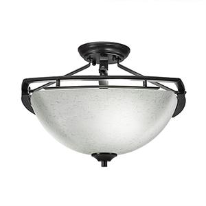Uptowne Dark Granite Three-Light Semi Flush Mount with White Muslin Glass