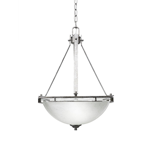 Uptowne Aged Silver Three-Light Pendant with White Muslin Glass