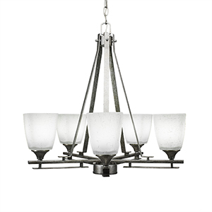 Uptowne Aged Silver Five-Light Chandelier with White Muslin Glass
