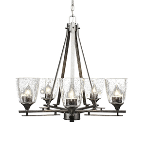 Uptowne Aged Silver Five-Light Chandelier with Clear Bubble Glass