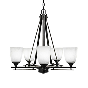 Uptowne Dark Granite Five-Light Chandelier with White Muslin Glass