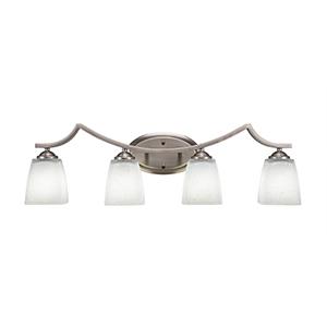 Zilo Graphite Four-Light Bath Vanity with White Muslin Glass