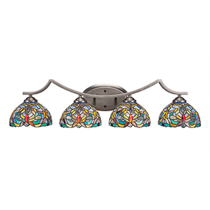 Zilo Graphite Four-Light Bath Vanity with Kaleidoscope Tiffany Glass
