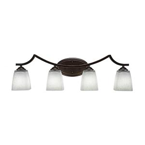 Zilo Dark Granite Four-Light Bath Vanity with White Muslin Glass