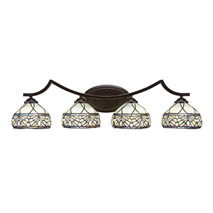 Zilo Dark Granite Four-Light Bath Vanity with Royal Tiffany Glass