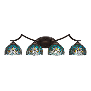Zilo Dark Granite Four-Light Bath Vanity with Turquoise Cypress Tiffany Glass
