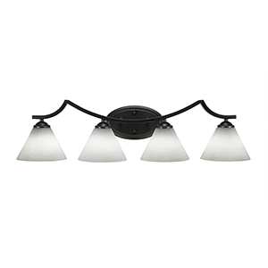 Zilo Matte Black Four-Light Bath Vanity with White Muslin Glass
