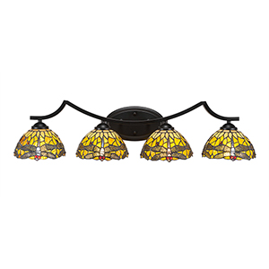 Zilo Matte Black Four-Light Bath Vanity with Amber Dragonfly Tiffany Glass