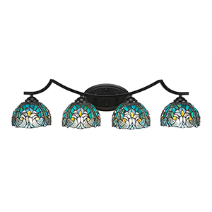 Zilo Matte Black Four-Light Bath Vanity with Turquoise Cypress Tiffany Glass
