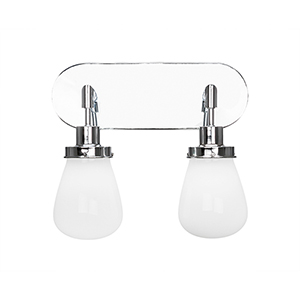 Meridian Chrome Two-Light Bath Sconce with White Glass