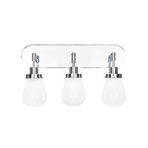 Meridian Chrome Three-Light Bath Vanity with White Glass