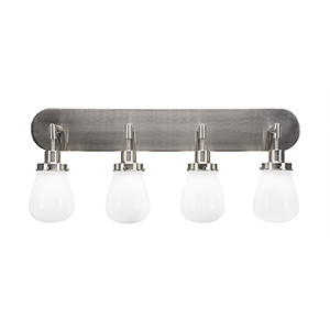 Meridian Brushed Nickel Four-Light Bath Vanity with White Glass