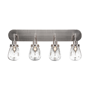 Meridian Brushed Nickel Four-Light Bath Vanity with Clear Bubble Glass