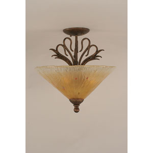 Swan Bronze Semi-Flush with Amber Crystal Glass