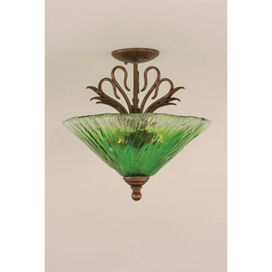 Swan Bronze Three-Light Semi-Flush with Kiwi Green Crystal Glass Shade