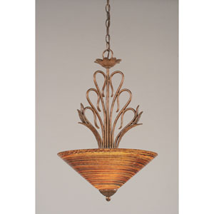 Swan Bronze Three-Light Bowl Pendant with Firre Saturn Glass Shade