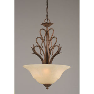 Swan Bronze Three-Light Bowl Pendant with Amber Marble Glass Shade
