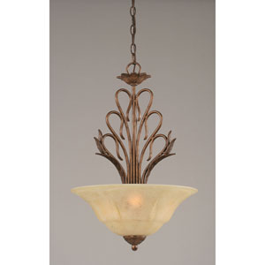 Swan Bronze Three-Light Bowl Pendant with Italian Marble Glass Shade