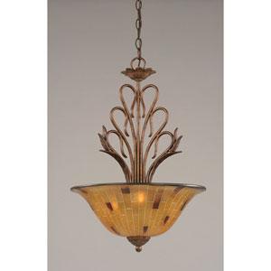 Swan Bronze Three-Light Pendant with Penshell Resin Glass