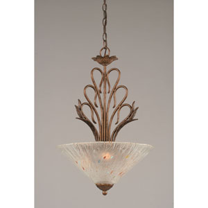 Swan Bronze Three-Light Bowl Pendant with Frosted Crystal Glass Shade