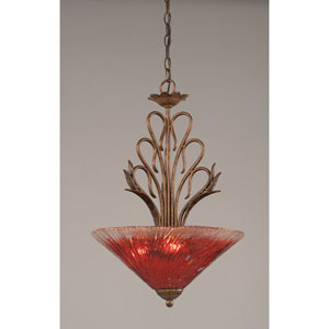 Swan Bronze Three-Light Bowl Pendant with Raspberry Crystal Glass Shade